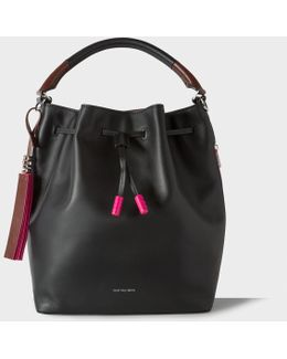 Women's Black Leather Bucket Bag
