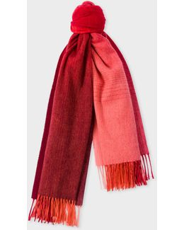 Women's Red Ombré Lambswool-cashmere Scarf