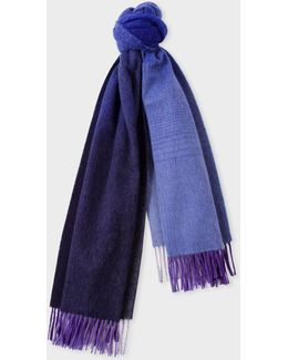 Women's Navy Ombré Lambswool-cashmere Scarf
