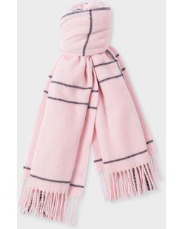 Women's Pink Windowpane Check Pattern Wool Scarf