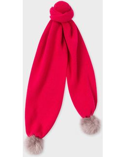 Women's Fuchsia Lambswool Scarf With Faux Fur Bobbles
