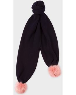 Women's Navy Lambswool Scarf With Faux Fur Bobbles