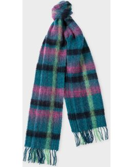 Women's Petrol Check Wool Scarf