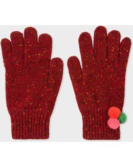Women's Dark Red Flecked Wool Gloves With Pom-pom Detail