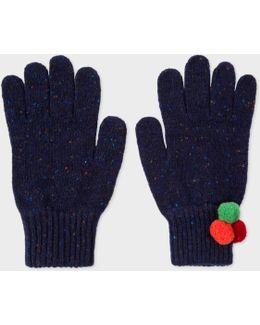 Women's Navy Flecked Wool Gloves With Pom-pom Detail