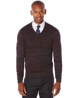 Variegated Stripe V-neck Sweater