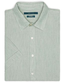 Short Sleeve Solid Linen Chambray Shirt