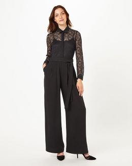 Lace Shirt Jumpsuit