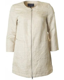 Boucle Zip Through Duster Coat
