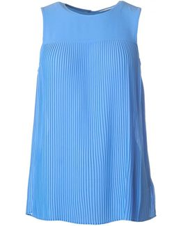 Solid Pleated Sleeveless Top