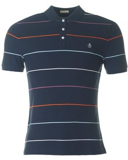 Short Sleeved Fine Pop Stripe Polo