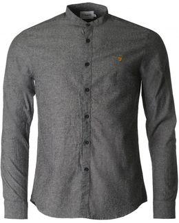 Steen Black Weave Grandad Collar Shirt