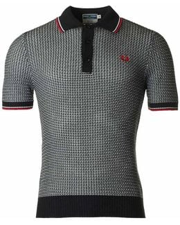 Two Colour Textured Knit Polo