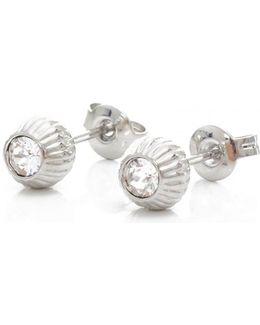 Aubree Plisse Crystal Ball Stud Earrings