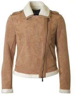 Faux Shearling Biker Style Jacket