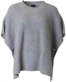Knitted Button Detail Poncho