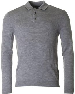 Charlton Long Sleeved Knitted Polo Shirt