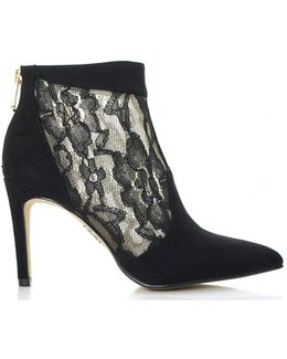 Lace Insert Suede Ankle Boots