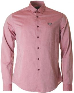 Slim Fit Badge Logo Melange Shirt