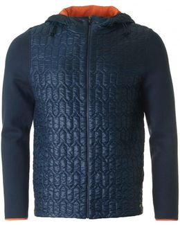 Marl Quilted Front Hooded Knit Track Top