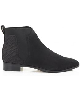 Nubuck Flat Ankle Boots