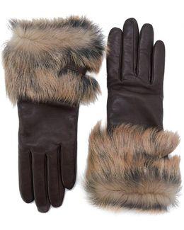 Leather Toscana Fur Trim Gloves