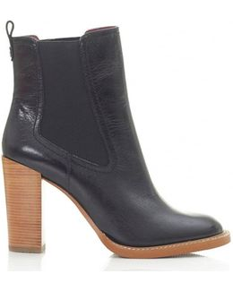 Wooden High Heel Ankle Boots