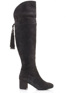 Suede Tassle Back Low Heel Boots