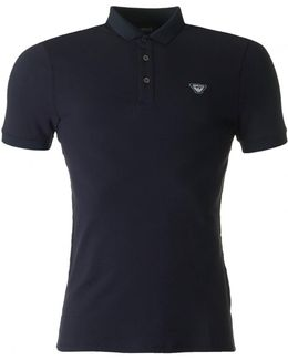 Short Sleeved Slim Fit Taped Detail Polo