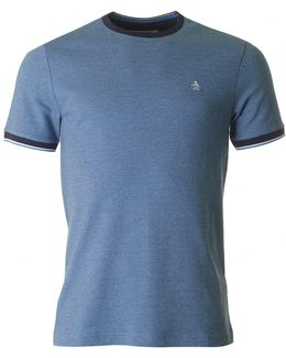 Short Sleeved Tipped Crew Neck