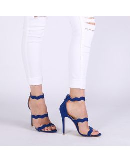 Ela Stiletto Heels In Cobalt Blue Faux Suede