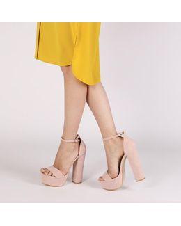 Bryn Platform High Heels In Blush Pink Faux Suede