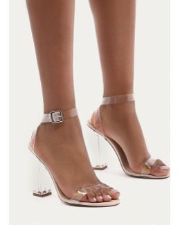 Alia Strappy Perspex High Heels In Clear Nude