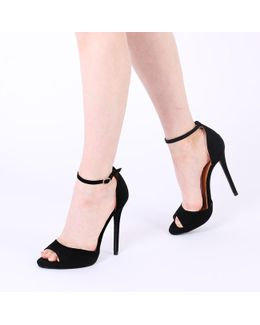 Saydee Barely There Stilettos In Black Faux Suede