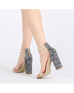 Juno Glitter Back Barely There Block Heels In Nude Faux Suede