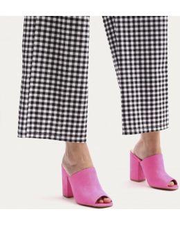 Sian Block Heel Mules In Pink Faux Suede