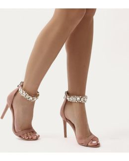 Fiji Diamante Barely There Stilettos In Dusky Pink Faux Suede