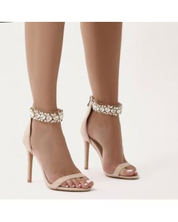 Fiji Diamante Barely There Stilettos In Nude Faux Suede