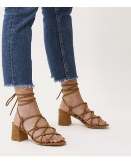 Freya Knotted Strappy Block Heeled Sandals In Tan Faux Suede