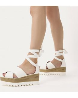 Arella Lace Up Stacked Flatform Sandals In White