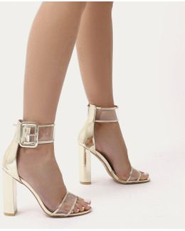 Mission Perspex Strap Buckled Block High Heels In Gold