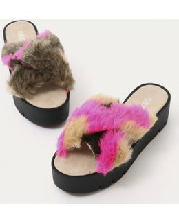 Kia Cross Over Cleated Sole Sliders In Pink Camo Faux Fur