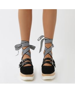 Statement Stacked Buckled Flatforms In Black And Gingham Straps