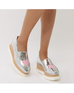 Mania Heart Stacked Flatform Shoes In Silver