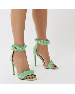 Lucid Frill Strap Barely There Heels In Green Faux Suede