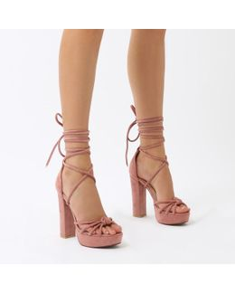 Tassie Knotted Lace Up Platform Heels In Blush Pink Faux Suede