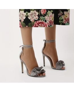 Sugar Ruffle Lace Up Barely There Heels In Grey Faux Suede
