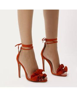 Sugar Ruffle Lace Up Barely There Heels In Orange Faux Suede