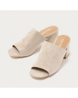 Promise Flared Block Heel Mules In Nude Faux Suede