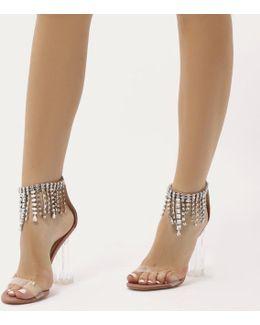 Oxygen Waterfall Diamante Perspex Heels In Blush Pink Faux Suede